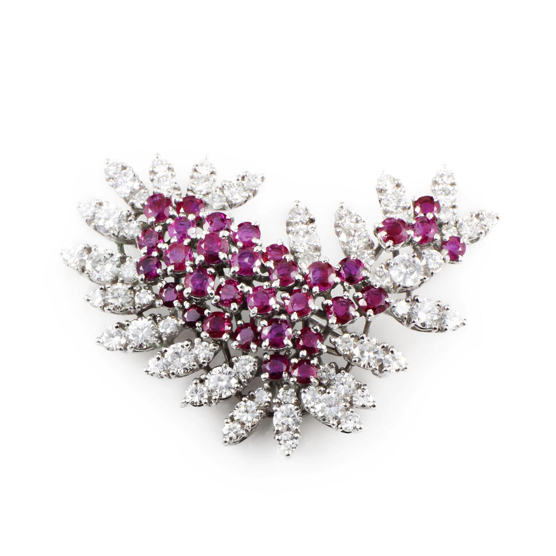 Women's Platinum Diamond & Ruby Cluster Brooch
