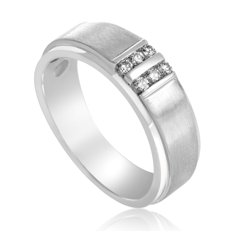 Men's 14K White Gold Diamond Band Ring GR01128-W4P