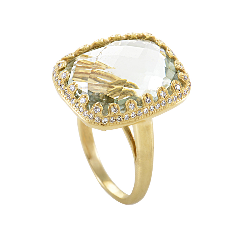 14K Yellow Gold Green Amethyst & Diamond Ring HF03336R-Y-GA