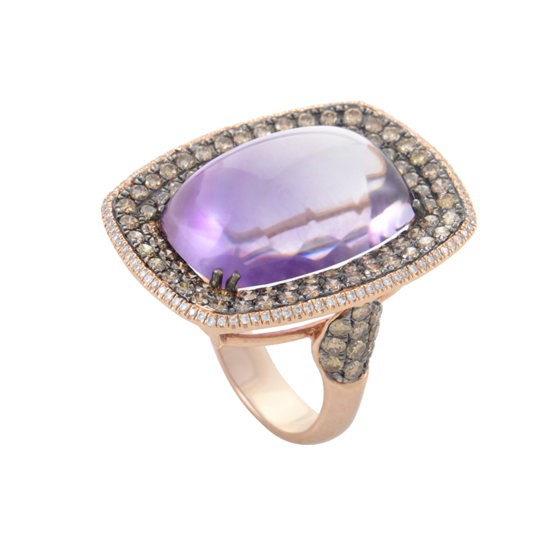 18K Rose Gold Amethyst & Diamond Ring HF03906RD-R-AB