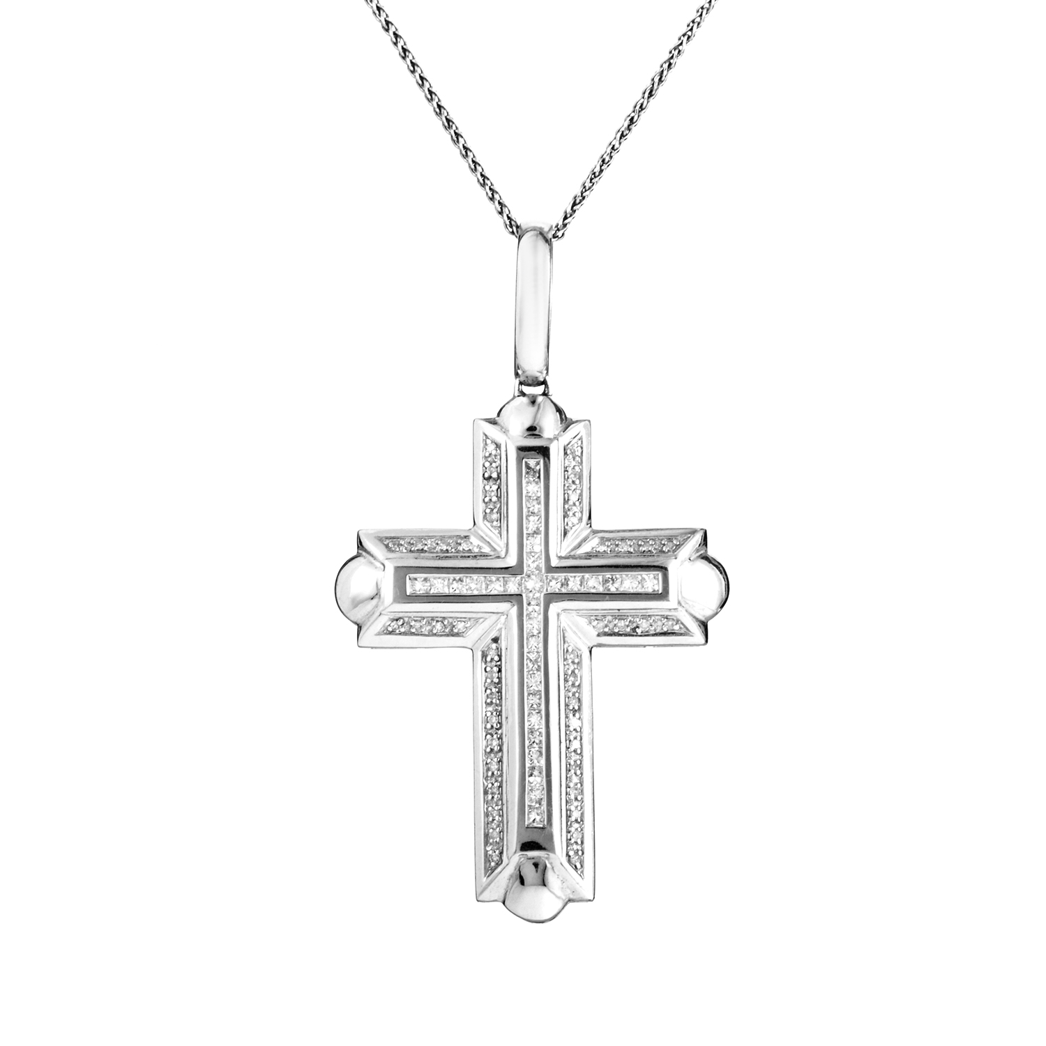 14K White Gold Diamond Thick Cross Pendant Necklace IO-24-031616