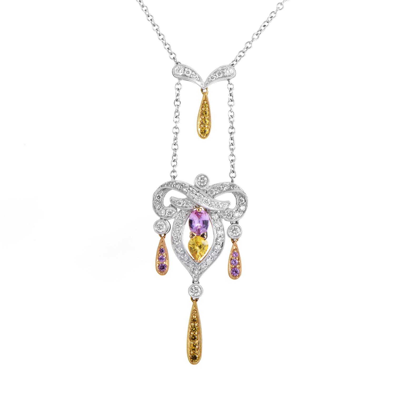 14K Tri-Gold Diamond & Sapphire Pendant Necklace IO-60-021016