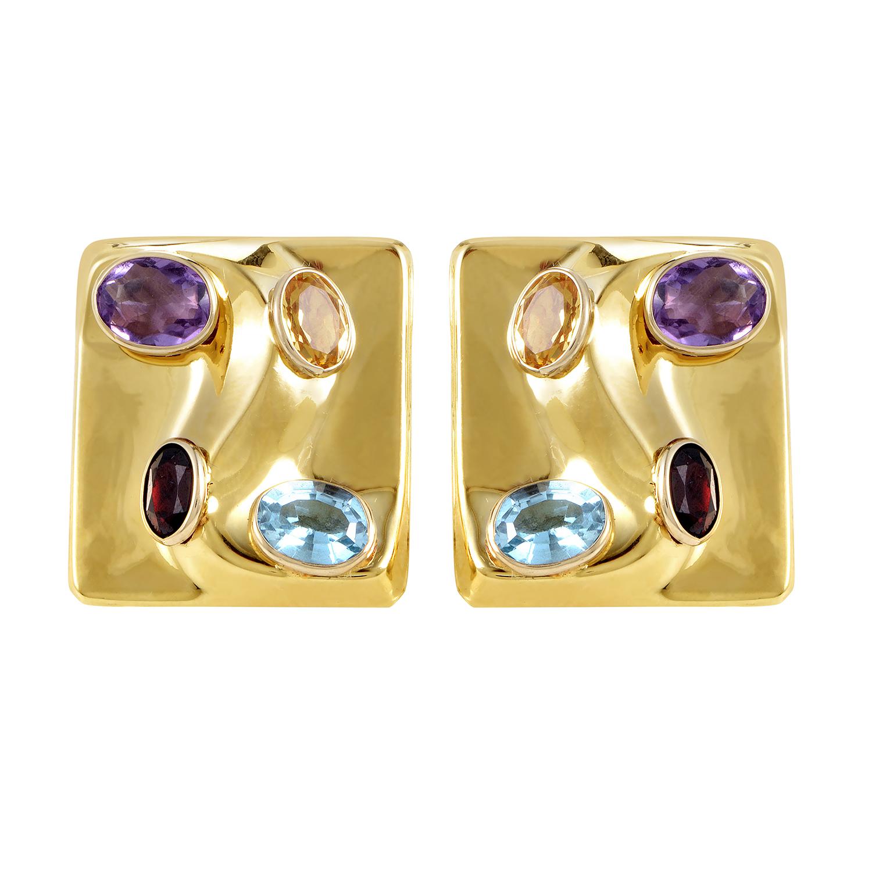 14K Yellow Gold Multi-Color Stone Earrings IP0102701AOER