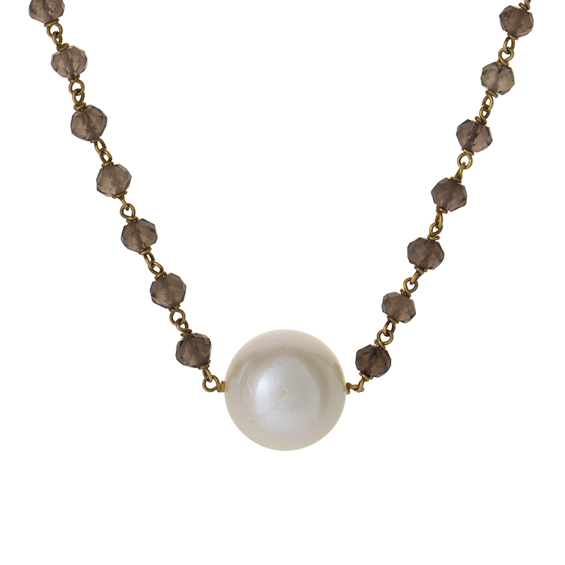 Italian Collection 18K Yellow Gold Smoky Topaz & Pearl Necklace 18024001