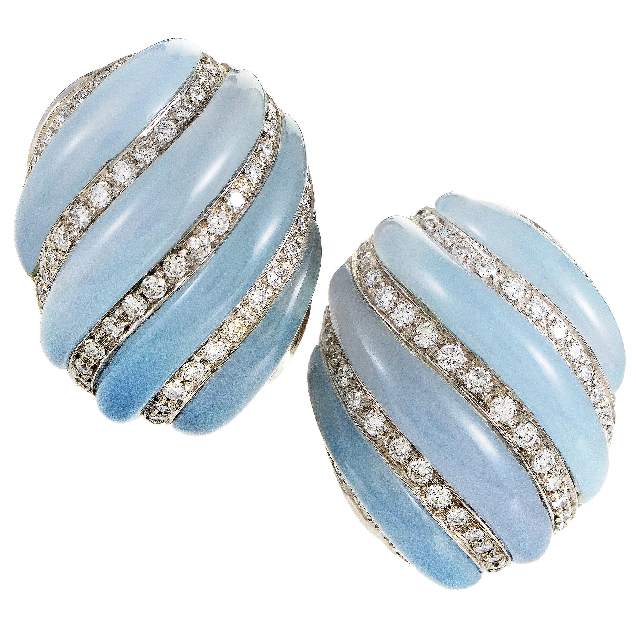 Women's Italian 18K White Gold Diamond & Blue Chalcedony Earrings