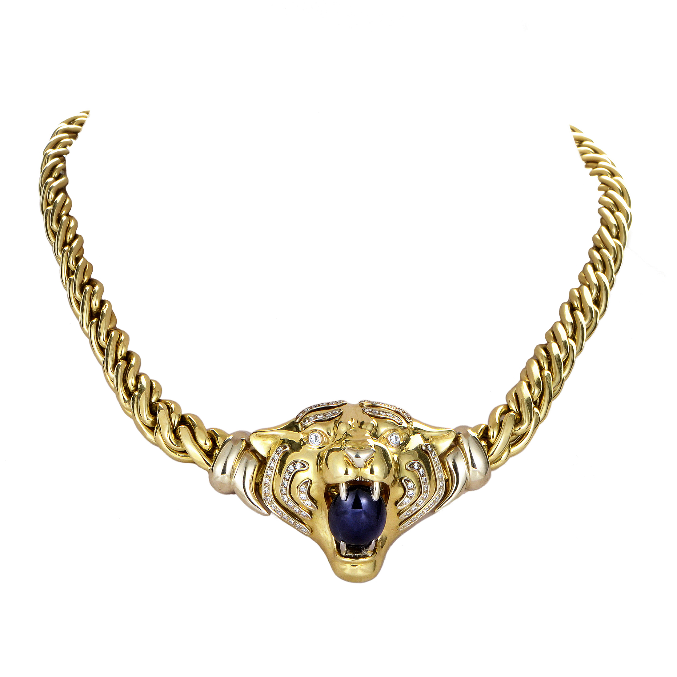 Women's Italian 18K Yellow Gold Diamond & Sapphire Tiger Pendant Necklace