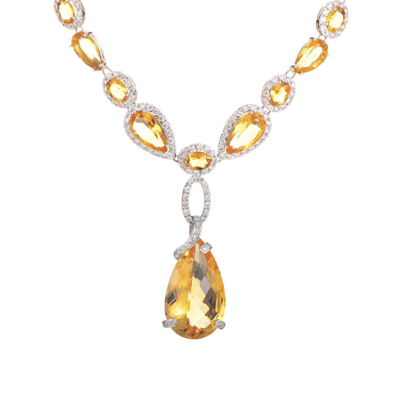 18K White Gold Citrine & Diamond Necklace I-O-73