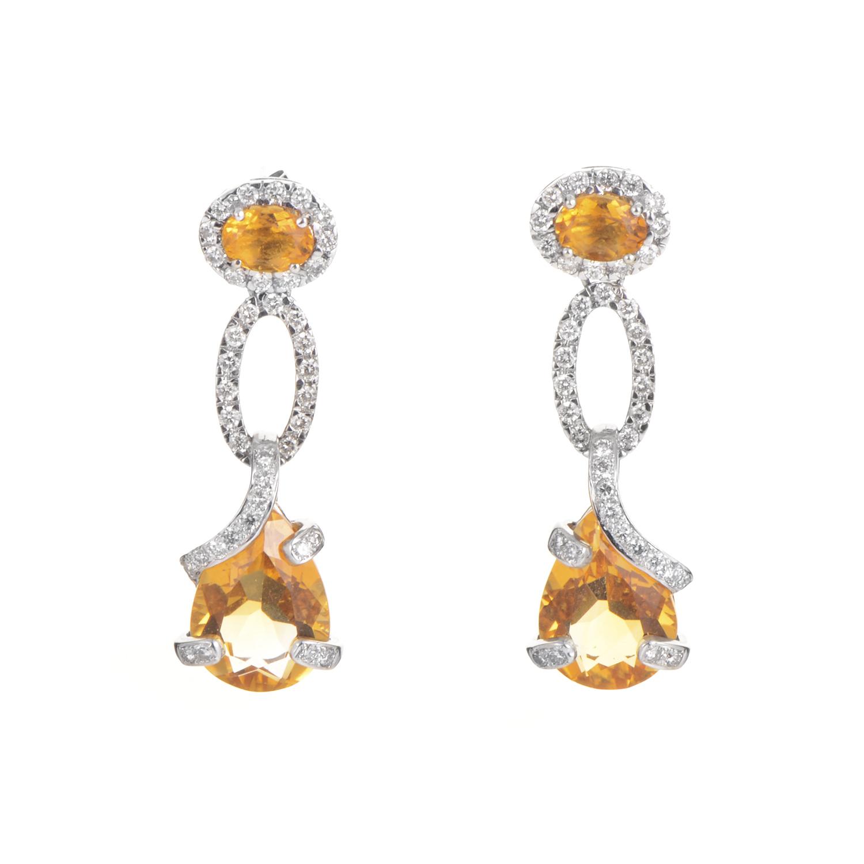 18K White Gold Citrine & Diamond Earrings I-O-74