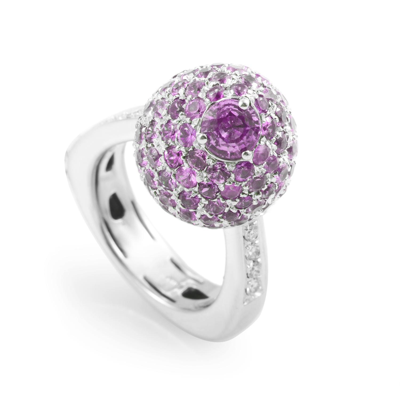 Italian Collection 18K White Gold Pink Sapphire & Diamond Ring