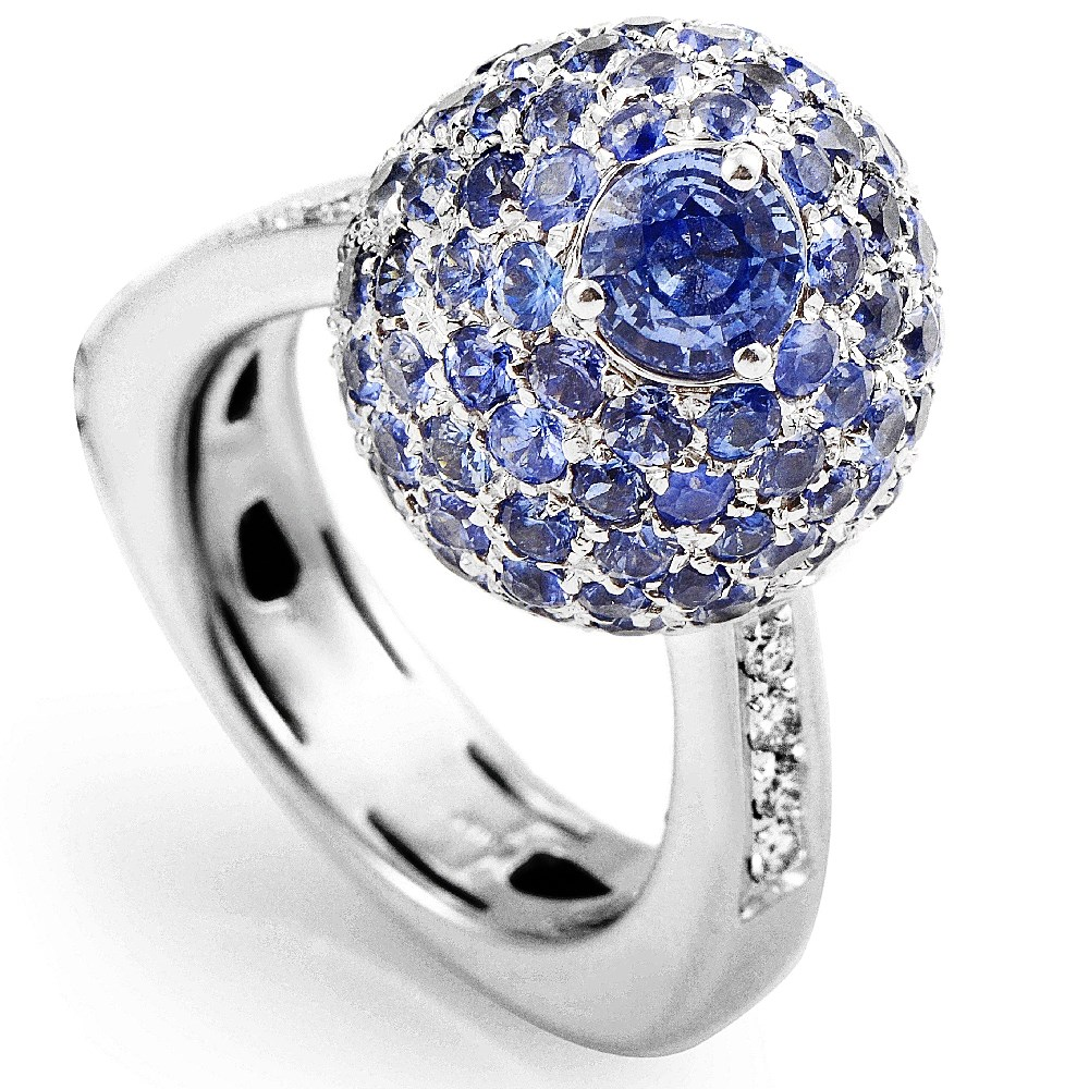 Italian Collection 18K White Gold Sapphire & Diamond Ring