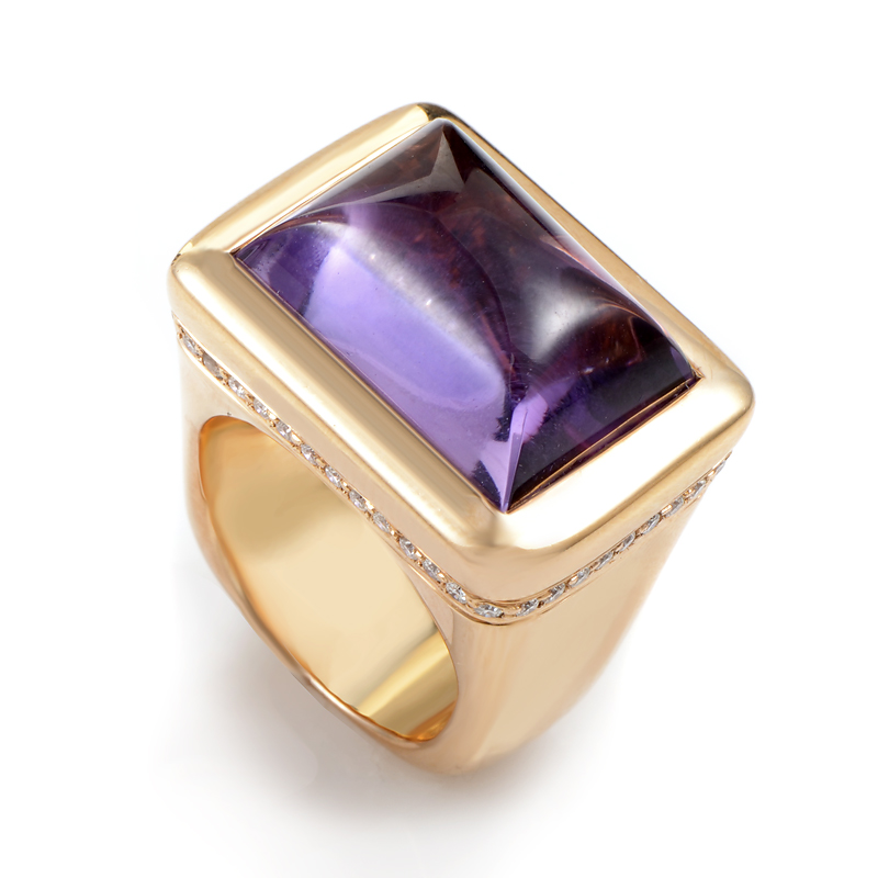 Italian Collection 18K Rose Gold Amethyst & Diamond Ring 18056001