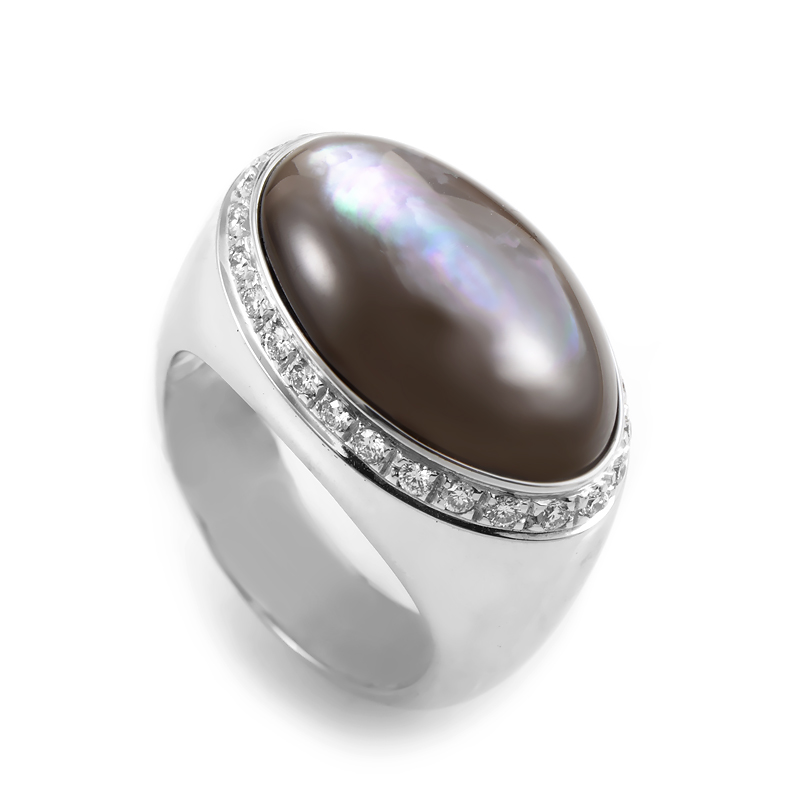 Italian Collection 18K White Gold Mother of Pearl Diamond Ring 18058001