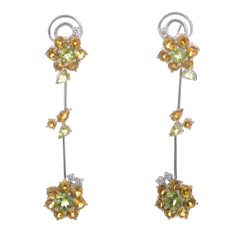 Italy Collection 18K White Gold Citrine & Peridot Flower Drop Earrings