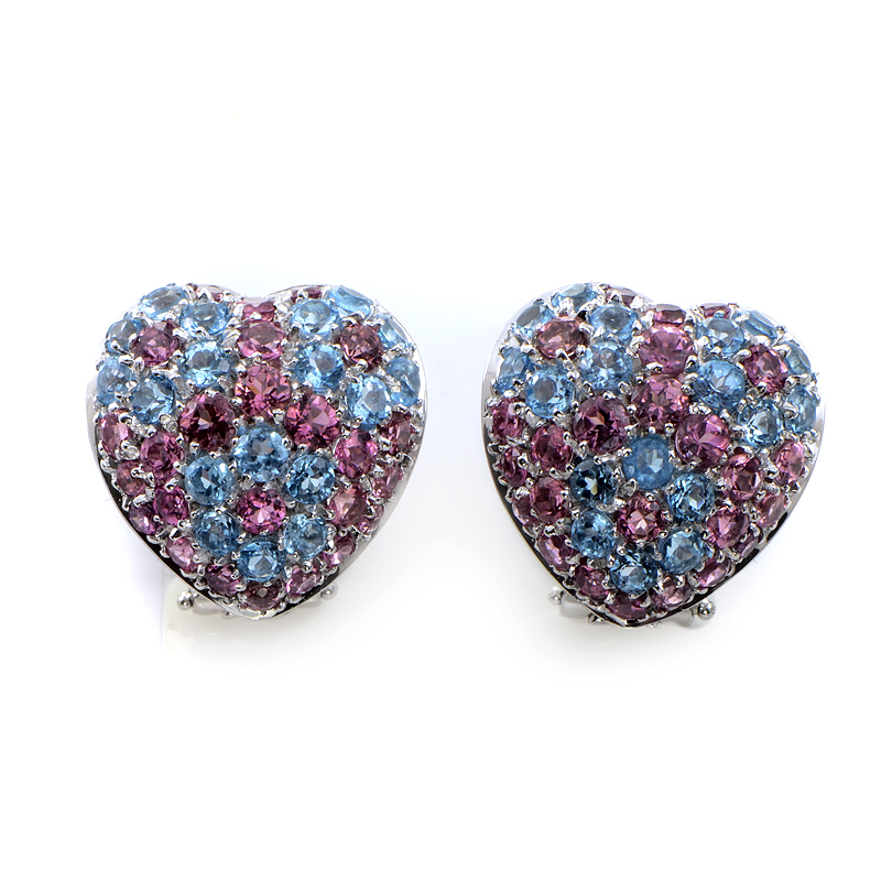 Italy Collection 18K White Gold Tourmaline & Topaz Pave Heart Earrings