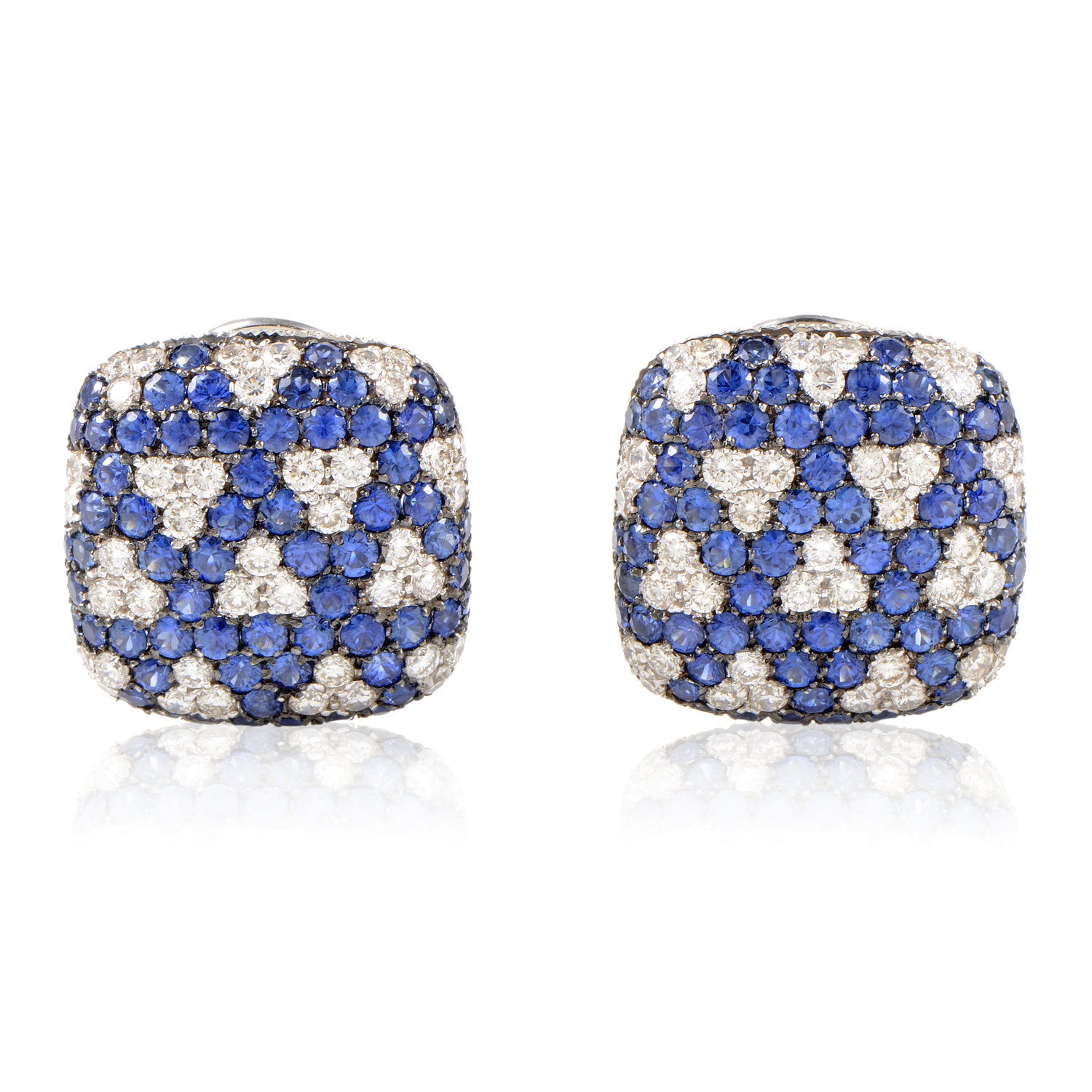 Italian Collection 18K White Gold Diamond & Sapphire Square Earrings 21965520