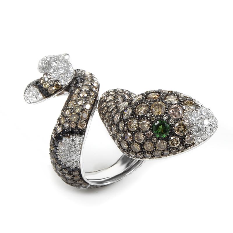 Italian Collection 18K White Gold Diamond & Tsavorite Snake Ring