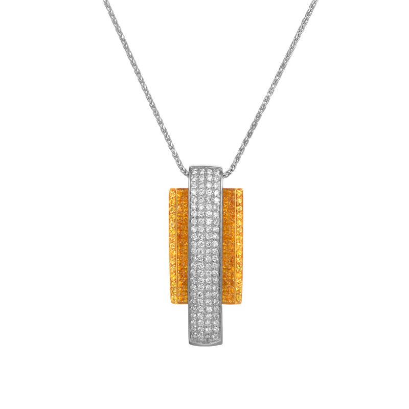 Italian Collection 18K Multi-Gold Diamond & Yellow Sapphire Pendant Necklace