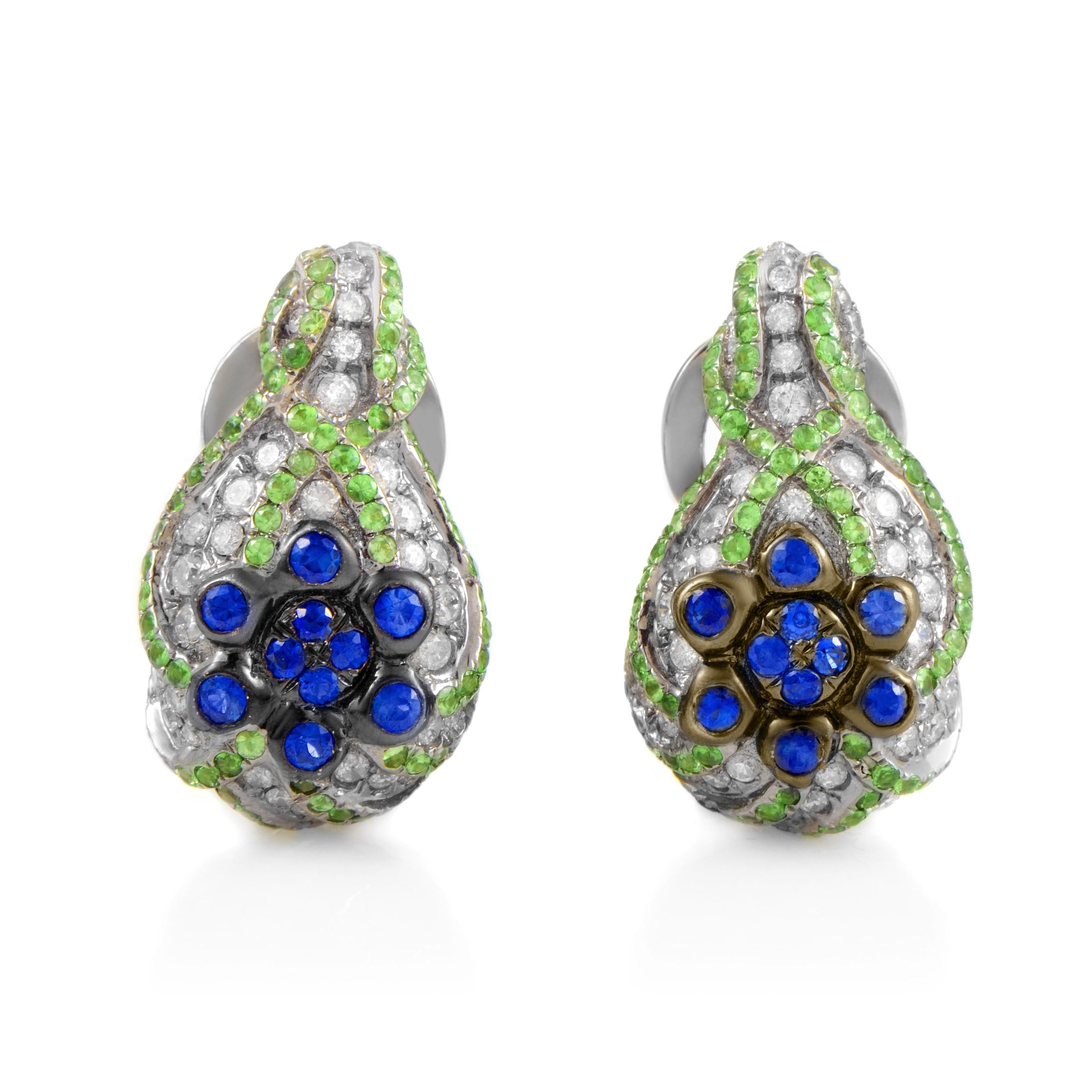 18K White Gold Sapphire & Tsavorite Diamond Huggie Earrings
