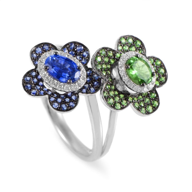 Italian Collection 18K White Gold Multi-Gem & Diamond Floral Ring