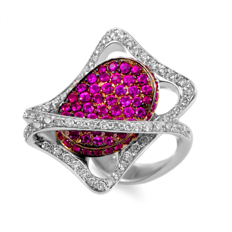 Italian Collection 18K White Gold Diamond & Ruby Ring MFC15-011315