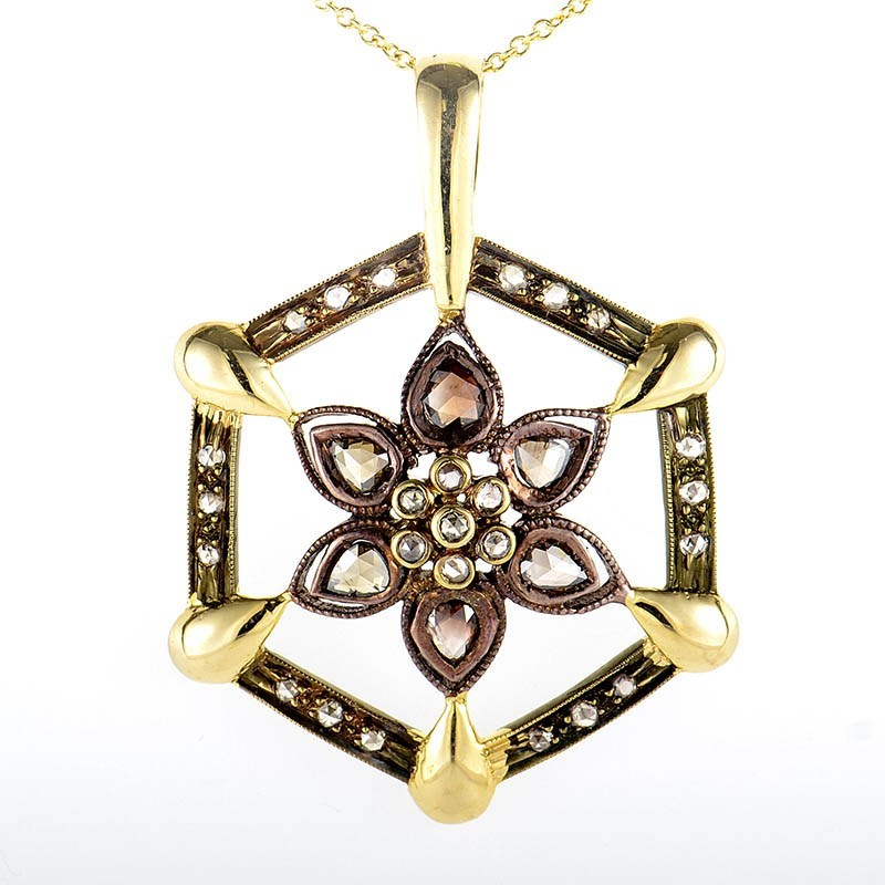 14K Yellow & Rose Gold Diamond Flower Pendant Necklace