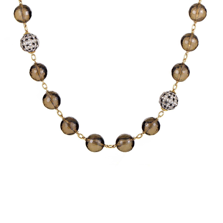 Women's 18K Yellow Gold & Smoky Topaz Beaded Necklace