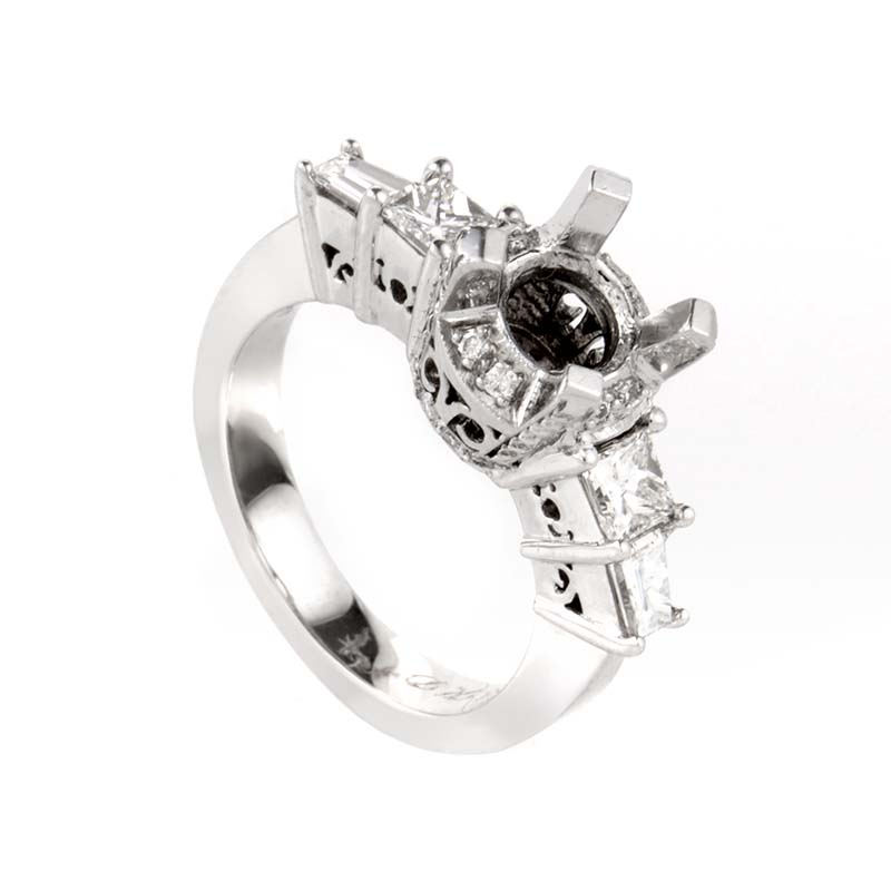 Eloquent 14K White Gold Diamond Mounting Ring LBD-059852