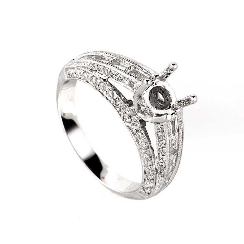 Pristine 14K White Gold Diamond Mounting Ring LBD-073854
