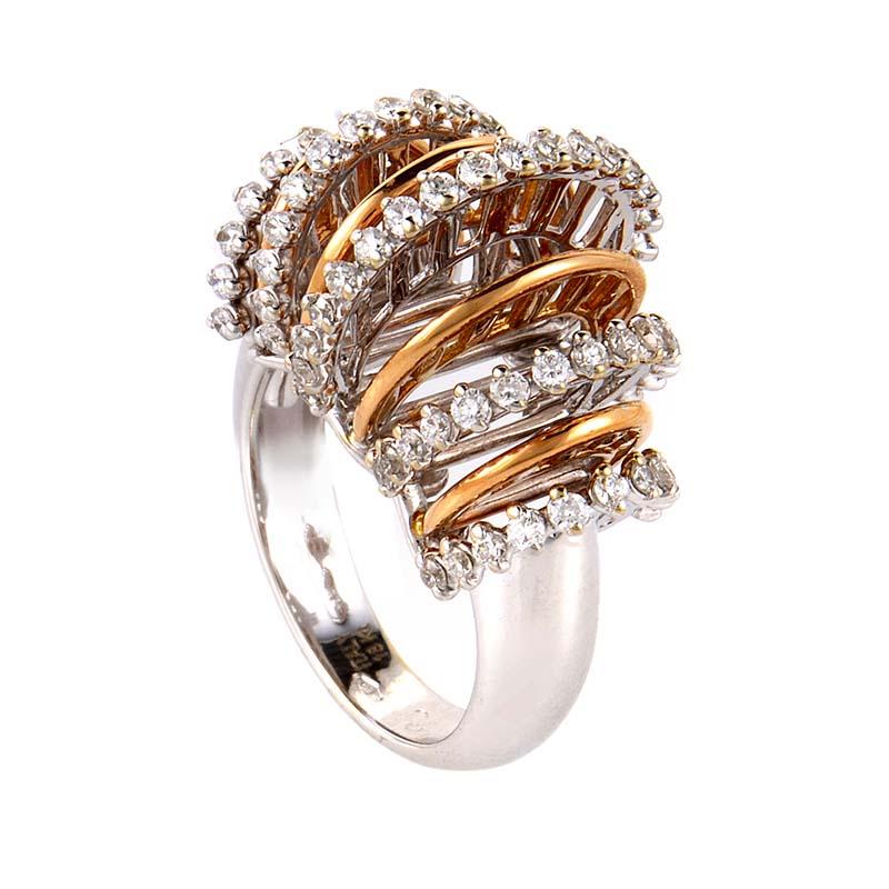 18K White & Rose Gold Diamond Openwork Loops Ring LBD-074143