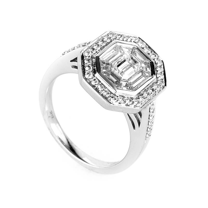 Magnificent 14K White Gold Diamond Ring LD4-13300W