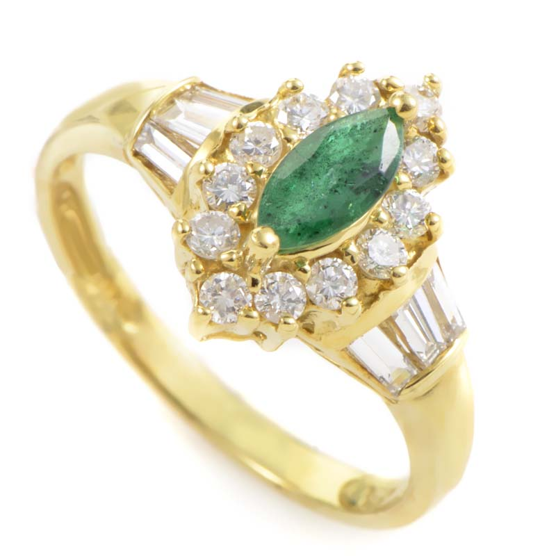 18K Yellow Gold Emerald & Diamond Ring LE8-061022YEM