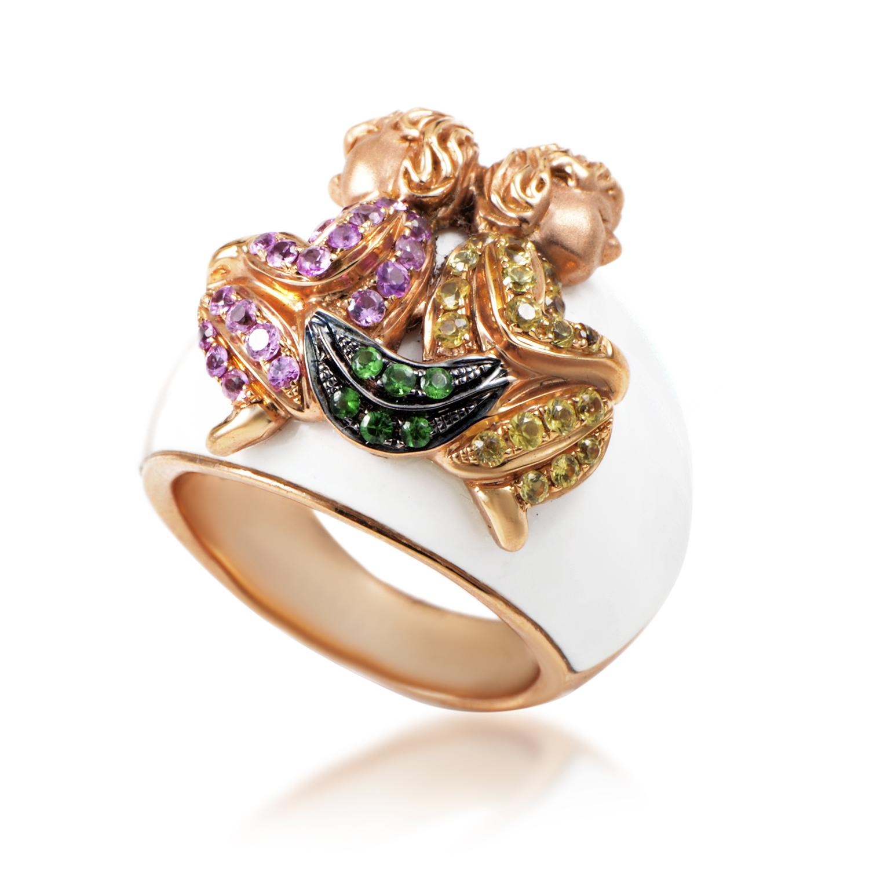 Women's 18K Rose Gold Multi-Sapphire & White Enamel Ring LF8-001543R