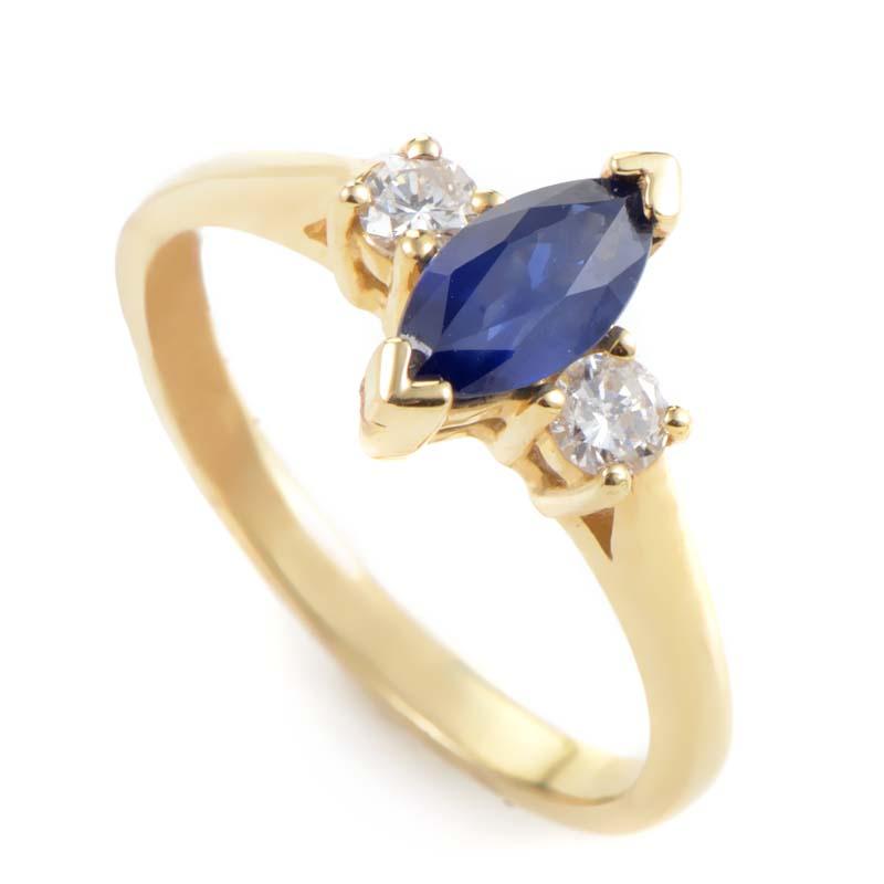 14K Yellow Gold Sapphire & Diamond Ring LS4-02491YSA