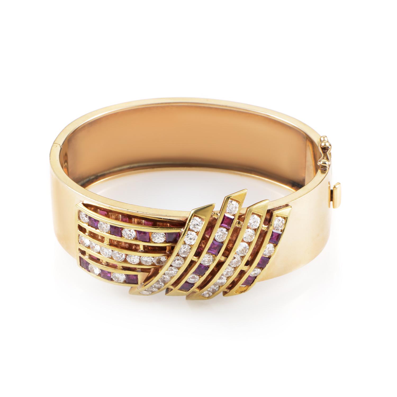 Women's Antique 14K Yellow Gold Diamond & Ruby Bangle Bracelet
