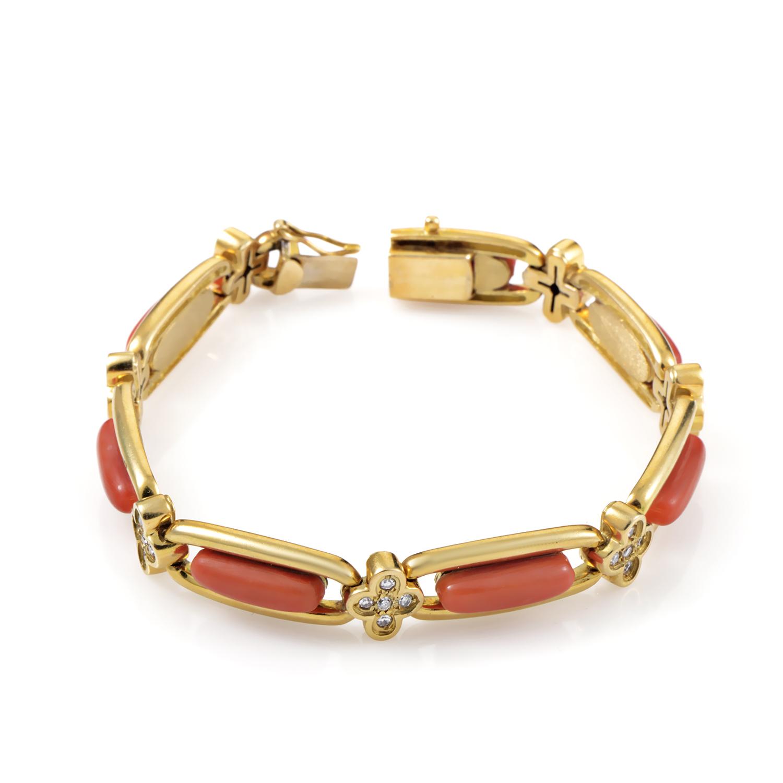 18K Yellow Gold Diamond & Coral Bracelet