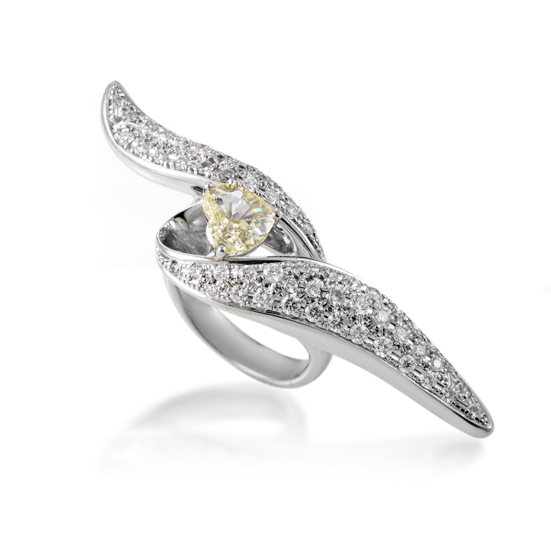 Women's Platinum Light Fancy Yellow & White Diamond Ring MFC01-061316