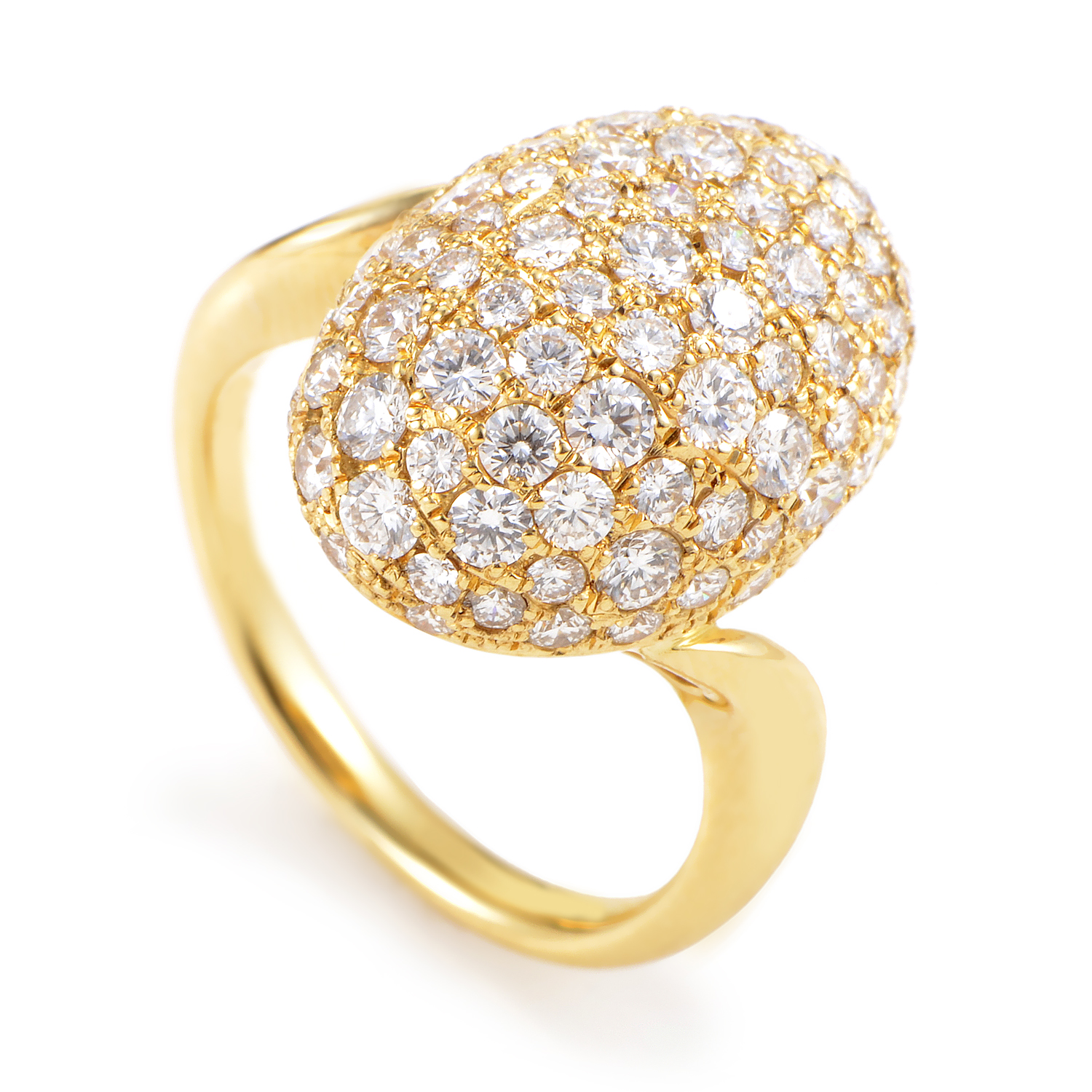 Women's 18K Yellow Gold Diamond Pave Ring MFC01-061316