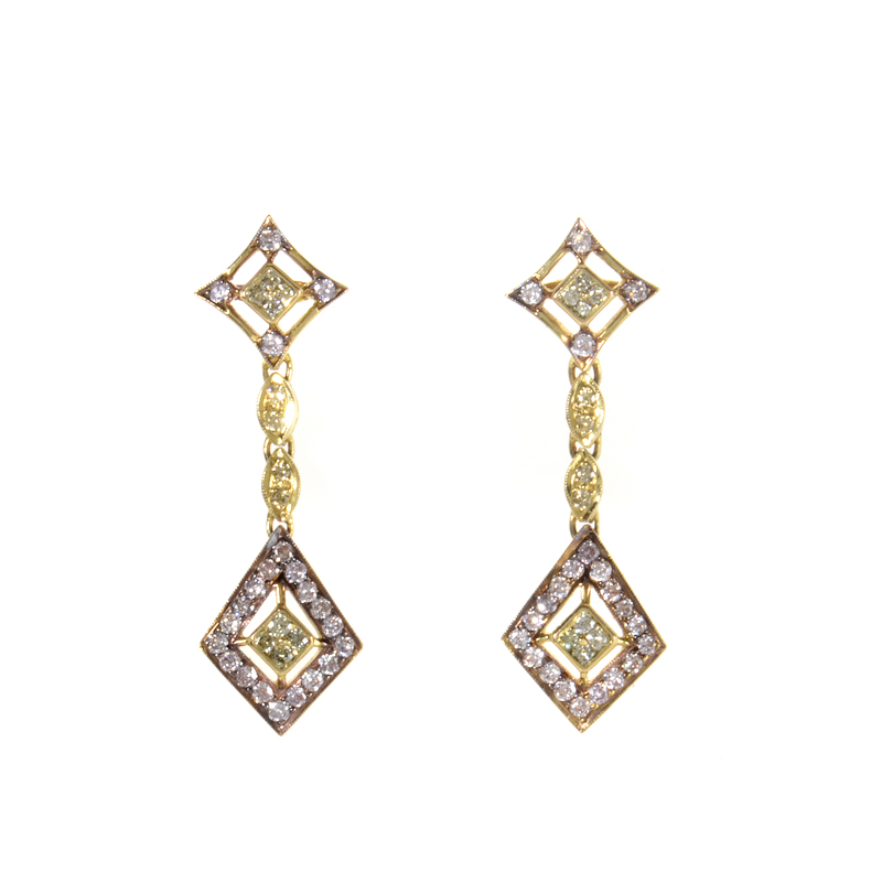 18K Yellow Gold White & Yellow Diamond Drop Earrings MFC01-082114