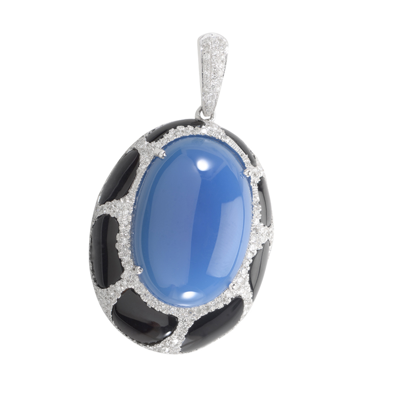 14K White Gold Gemstone & Diamond Enhancer Pendant MFC01-103114
