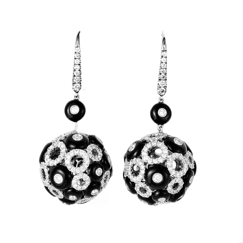 Italian Collection 18K White Gold Sapphire & Diamond Dangle Earrings