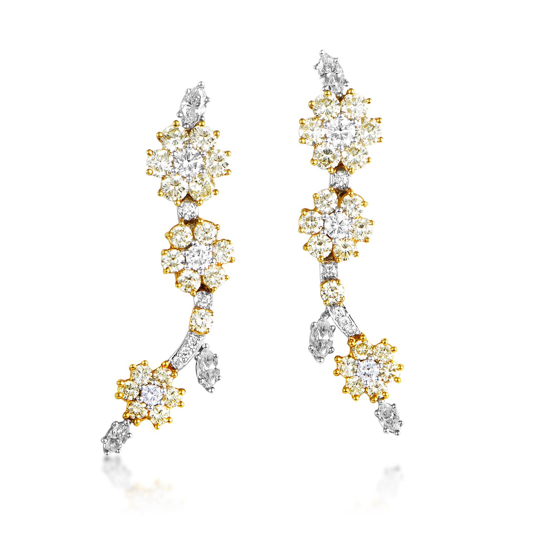 Women's 18K Yellow & White Gold Diamond Flower Earrings MFC02-082316