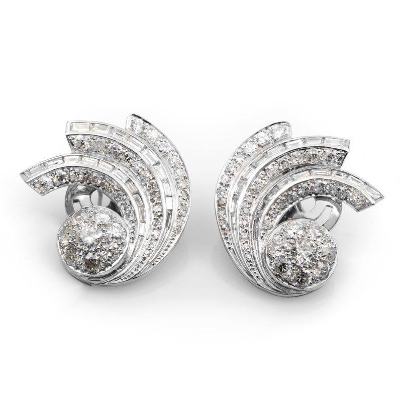 Vintage Platinum & Diamond Swirl Earrings