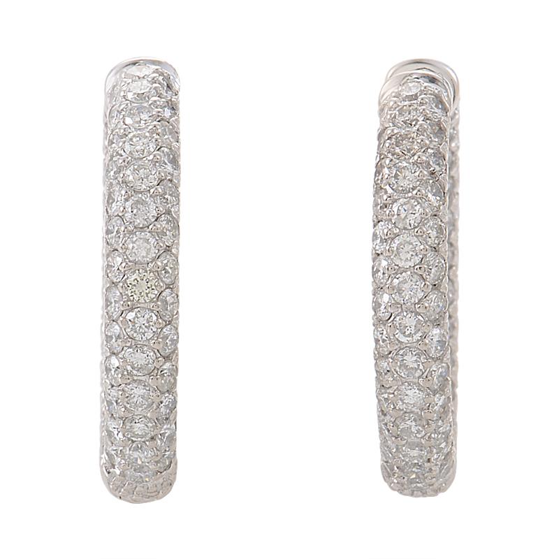 18K White Gold Diamond Pave Hoop Earrings MFC03-052414