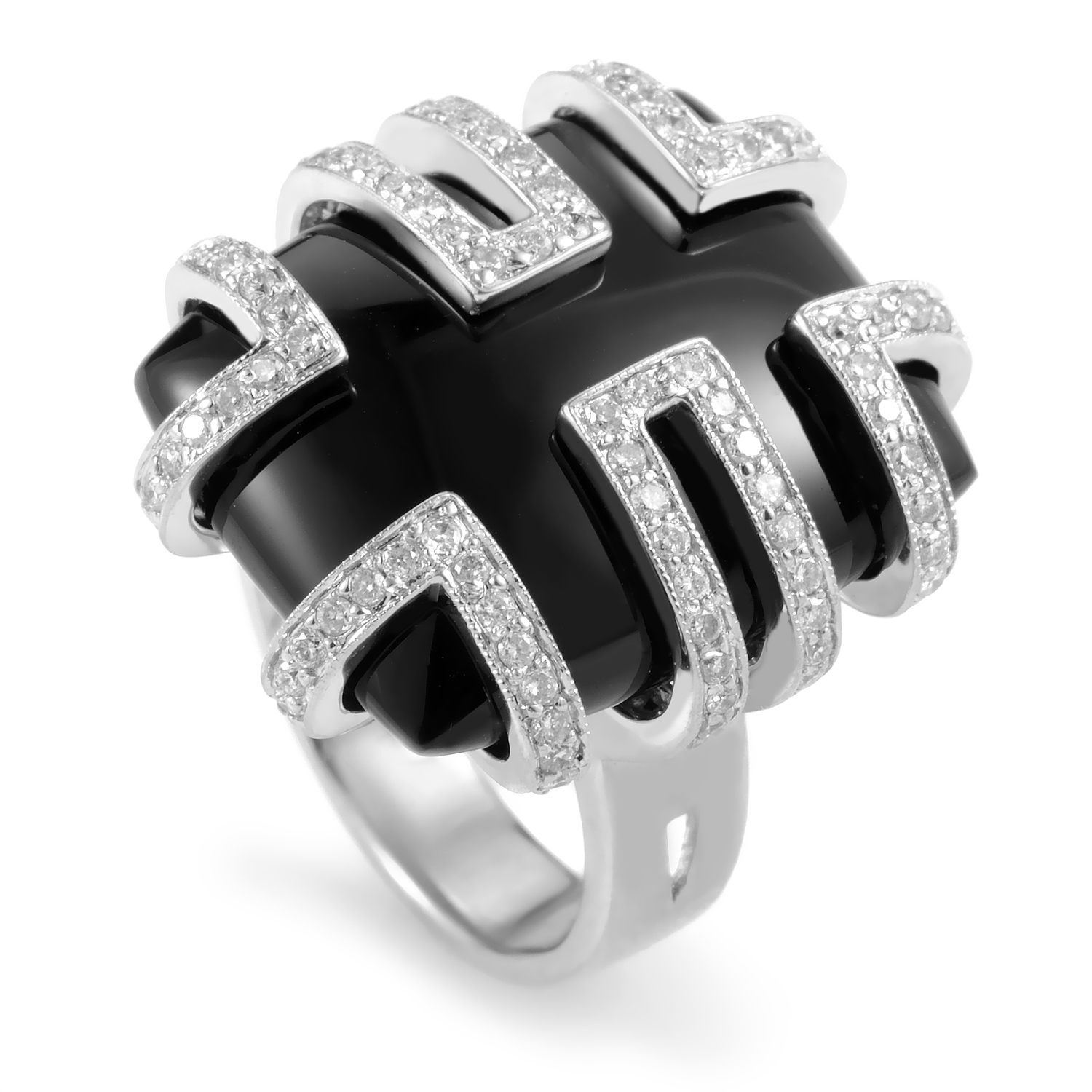 Women's 18K White Gold Diamond & Onyx Ring MFC03-061316