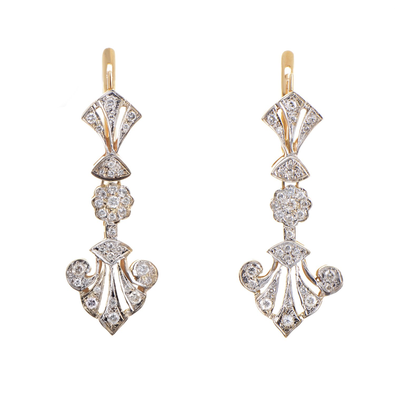 14K Multi-Tone Gold Diamond Dangle Earrings MFC03-121815
