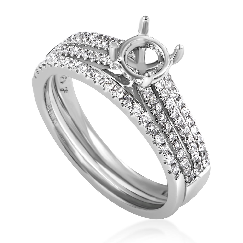 Women's 14K White Gold Diamond Bridal Mounting Set MFC05-060716