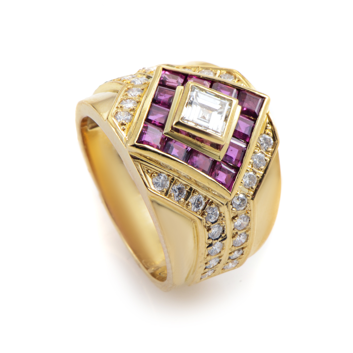 18K Yellow Gold Diamond & Ruby Ring MFC05-020916