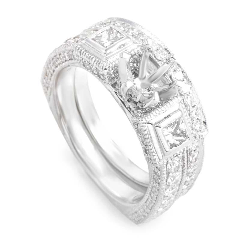 18K White Gold Diamond Bridal Mounting Set MFC05-073013