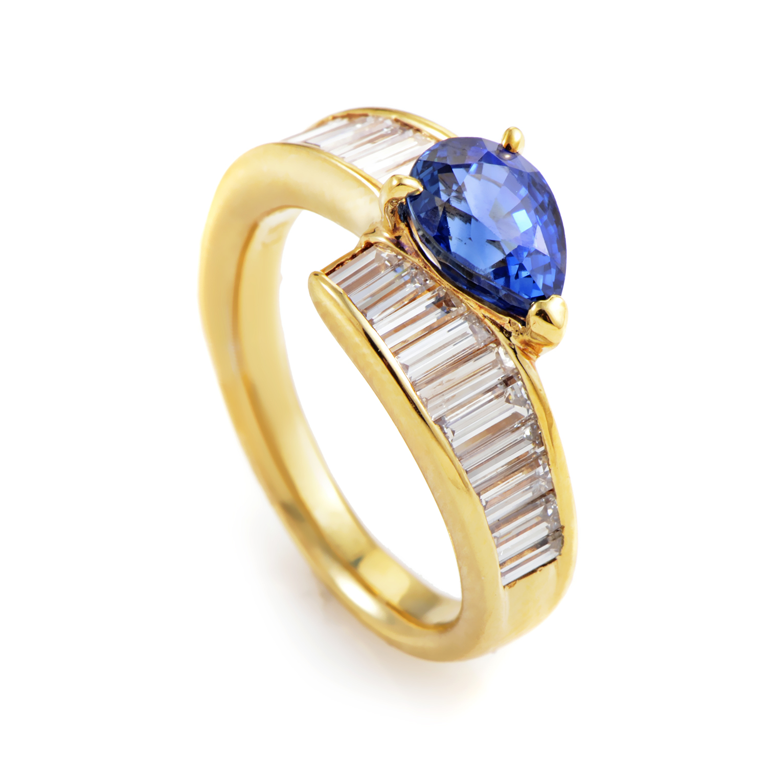 18K Yellow Gold Sapphire & Diamond Ring MFC06-020916