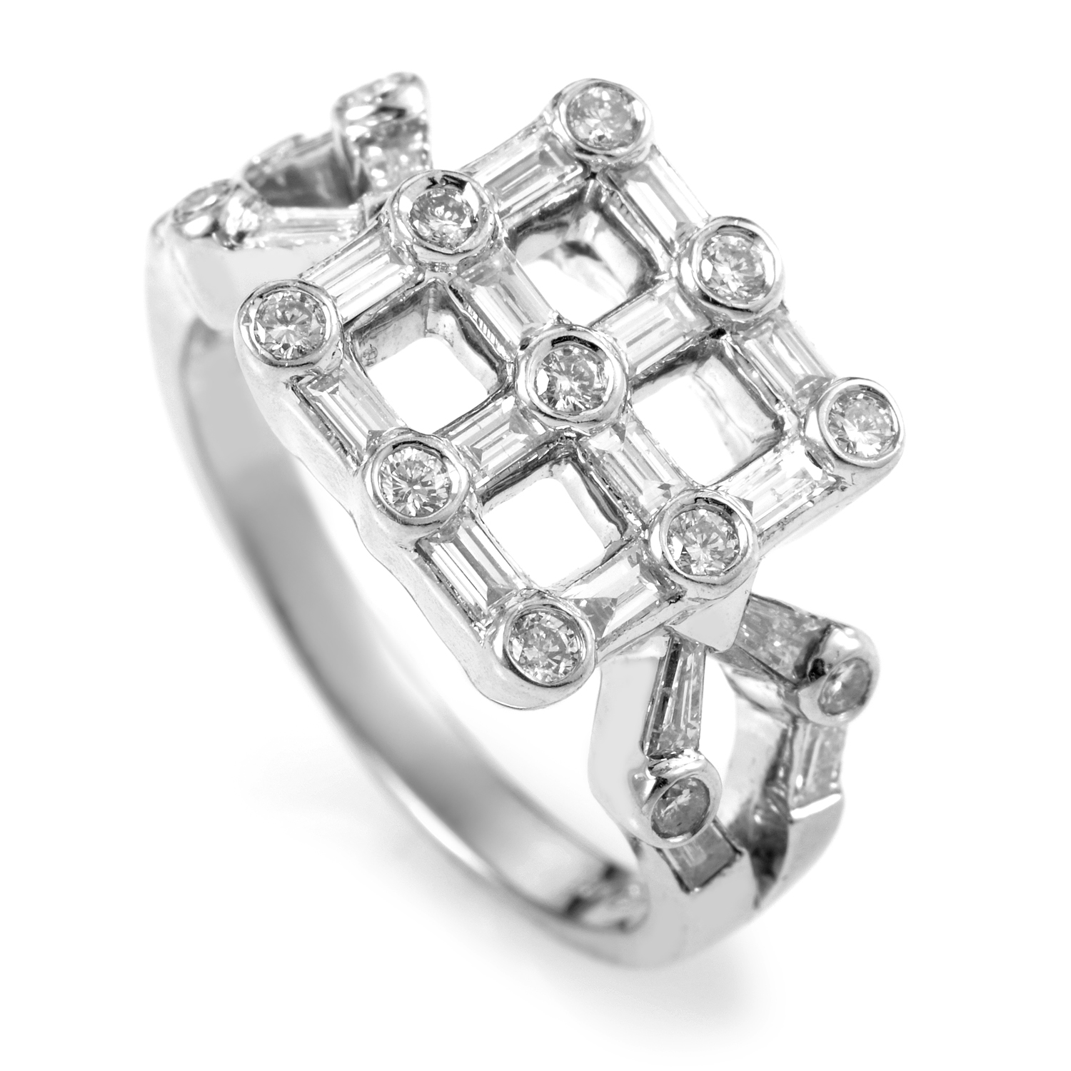 18K White Gold Diamond Grid Ring MFC06-021816